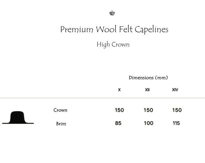 Wholesale | Premium Wool Felt Hat Bodies | Capelines | High Crown | Up to 4 Colors | Made to Order