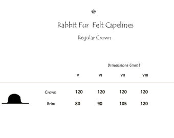 Wholesale | Rabbit Fur Felt Hat Bodies | Capelines | Regular Crown | Smooth Finish | Up to 4 Colors | Made to Order