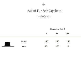 Wholesale | Rabbit Fur Felt Hat Bodies | Capelines | High Crown | Smooth Finish | Up to 4 Colors | Made to Order