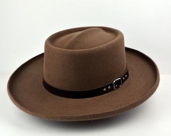 a94c2ed88725db Gambler Hat   The RIVERSIDE   Taupe Fur Felt Wide Brim Hat Men Women   Fur  Felt Western Hats