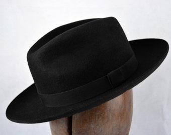 The Hornette - Wool Felt Handmade Western Style Fedora Hat - Wide Brim - Men  Women 0fe4180d9b6