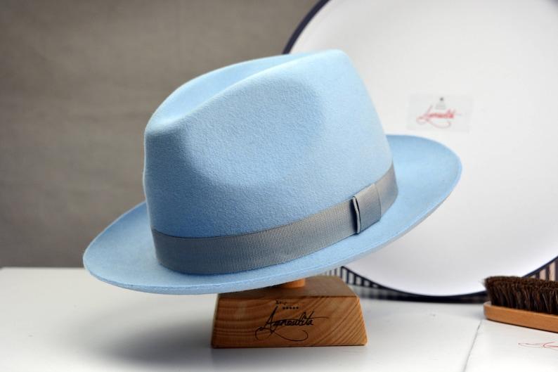 b9cbf41eae9 Fedora The CLUBMAN Light Blue Fedora Hat For Men Mens