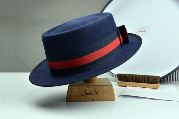 Fedora Navy Blue Fur Felt Fedora Hat For Women Womens  c2ab88322
