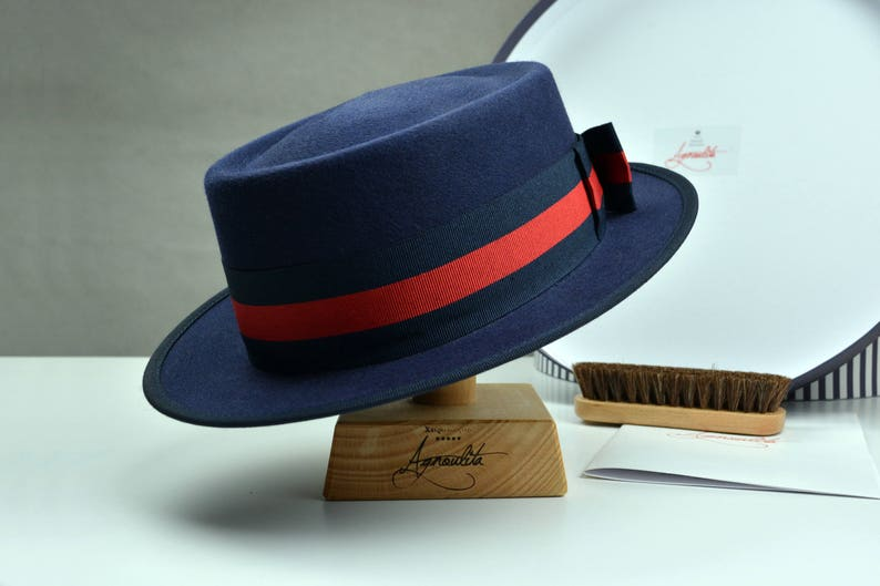 68d11621a6be5 Riding Hat The EQUESTRIAN Navy Blue Fur Felt Fedora Hat