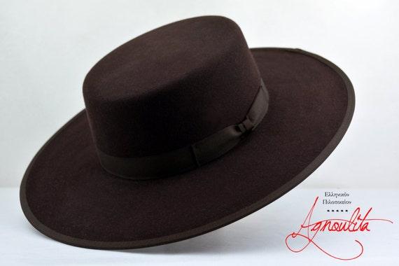 Bolero Hat The JACOBY Chocolate Fur Felt Flat Top Wide  77280cab7e7