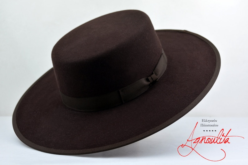 270a3d83bc6 Bolero Hat The JACOBY Chocolate Fur Felt Flat Top Wide