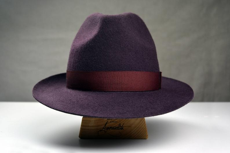 Fedora The SOPRANO Plum Wool Felt Fedora Hat For Men  c145a0bda855