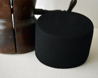 The Tarboosh - Black Wool Felt Handmade Fez Hat - Brimless - Men Women