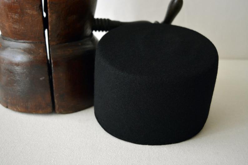 0299b3cfe63 Fez The TARBOOSH Black Wool Felt Flat Crown Fez Hat