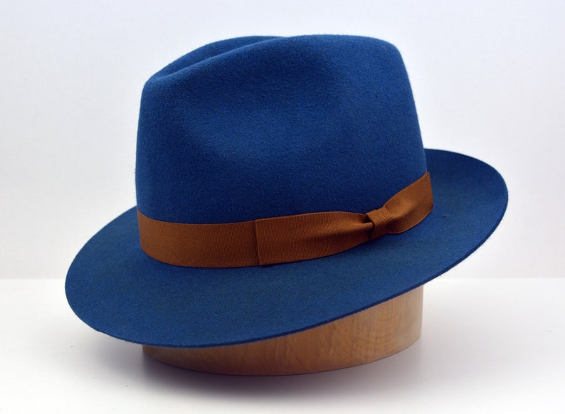 11560bbe06c93 Fedora The CHARLIE Blue Trilby Hat Men Fedora Hat For