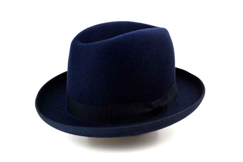 Homburg Hat The CANDIDATE Navy Blue Fedora Hat For Men  585aa540d334