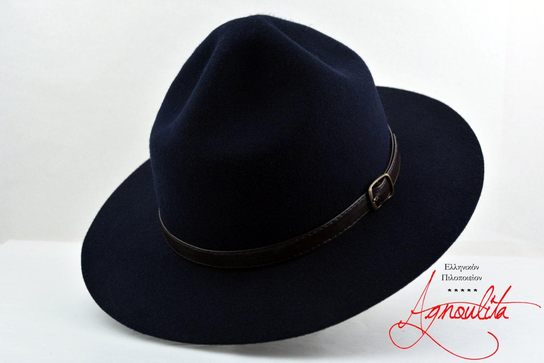 Navy Blue Wool Felt Scout Hat - Pure Merino Wool Felt Boy Scout   Ranger   Campaign  Hat - Men Women e93af11b9ee