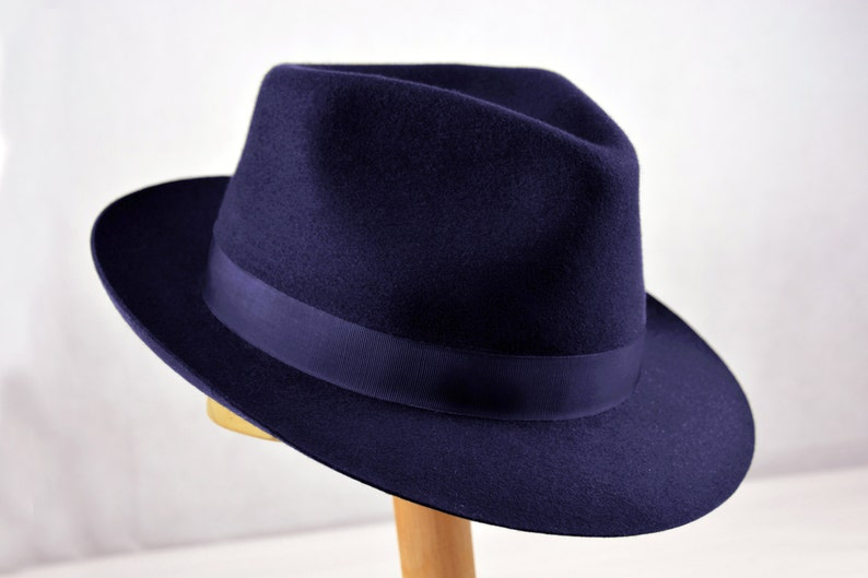 45ad8b5308344 Fedora The DIPLOMAT Navy Blue Fedora Hat For Men Mens