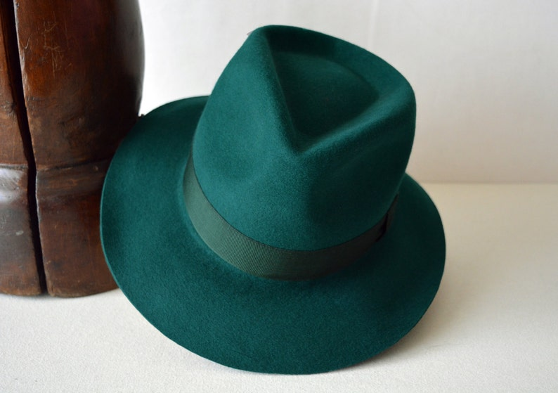 896a3e0326 Womens Fedora The HILLARY Forest Green Fedora Hat For