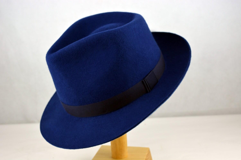 6fb63e131f13a Deep Blue Wool Felt Fedora - Pure Wool Felt Handmade Teardrop Fedora Hat - Men  Women