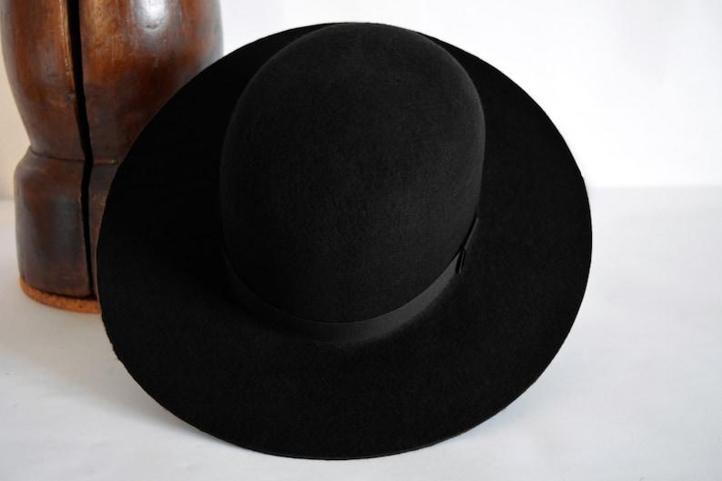6512f290135 Round Crown Fedora The INDIAN Black Wide Brim Hat Men