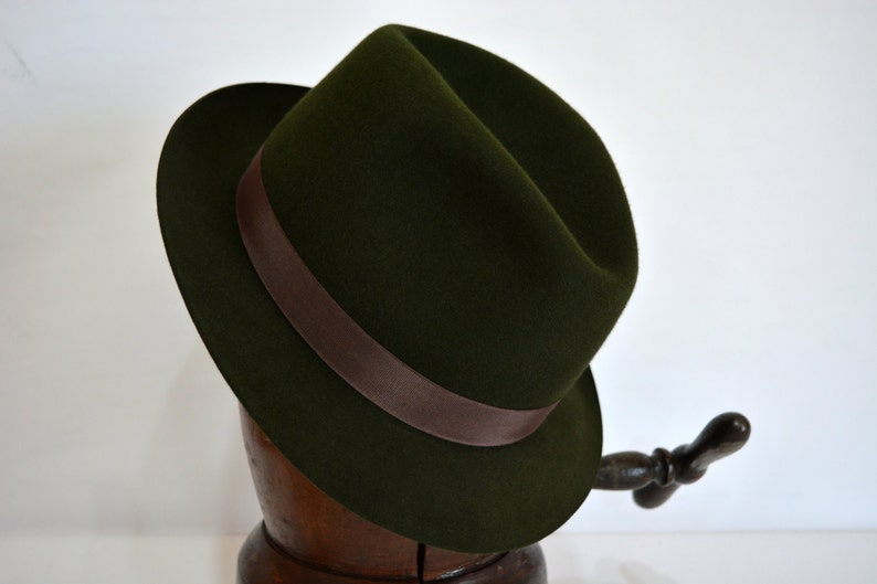 bb43a21a546c3 Womens Fedora The ANNETTE Olive Green Trilby Hat Women