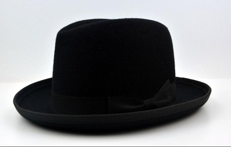 32e83d5922af ... Homburg Hat The PREMIER Black Fedora Hat For Men Mens image ...
