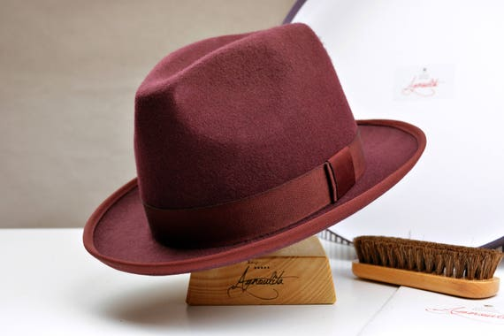 93832864d02 Fedora The AUXERRE Burgundy Wool Felt Fedora Hat For Men