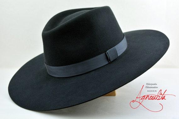 Wide Brim Fedora The CARAVAN Slate Grey Wide Brim Hat Men  4b40dffaff6