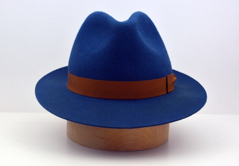 a7b9175cc926a Fedora The CHARLIE Blue Trilby Hat Men Fedora Hat For