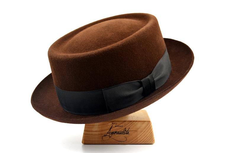 1940s Mens Hats | Fedora, Homburg, Pork Pie Hats Pork Pie | The ANTICO | Cocoa Brown Pork Pie Hat Men Women | Felt Hat For Women Men $165.28 AT vintagedancer.com
