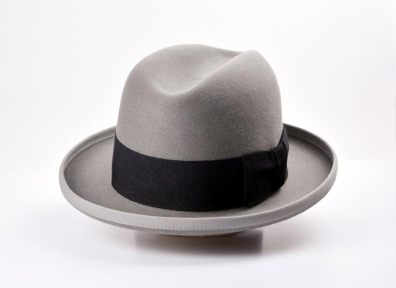 Steampunk Hats for Men | Top Hat, Bowler, Masks Homburg Hat | The OSCAR | Ash Grey Fedora Hat For Men | Mens Fedora Hats | Mens Fur Felt Hat $206.63 AT vintagedancer.com