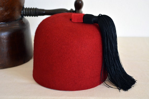Red Wool Felt Fez - Wool Felt Round Crown Handmade Fez / Fes / Tarboosh Hat - Men Women