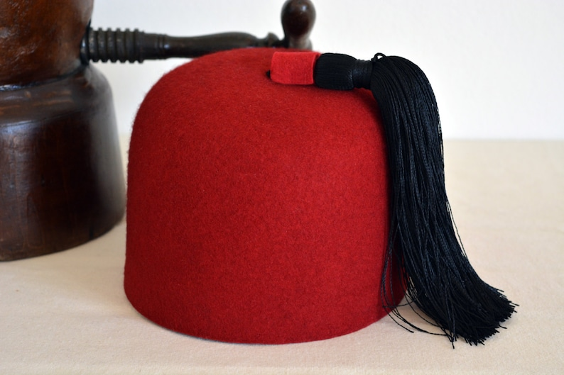 eaf5fc6c3f0 Fez Hat The MARRAKESH Red Wool Felt Round Crown Fez