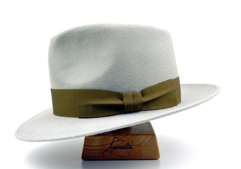 Mens Fur Felt Hat Fedora Light Grey Wide Brim Hat Men Fedora Hat For Men The 5217