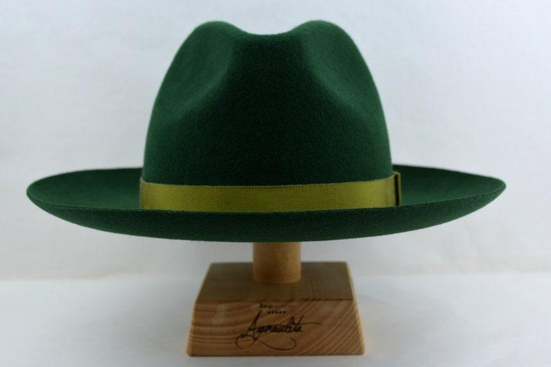 The MOSSMAN Forest Green Wide Brim Hat Men Mens Felt Hat Fedora Fedora Hat For Men