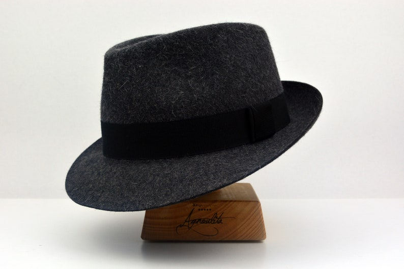 8e90e3a84026c6 Fedora The RACONTEUR Dark Grey Trilby Hat Men Fedora Hat | Etsy