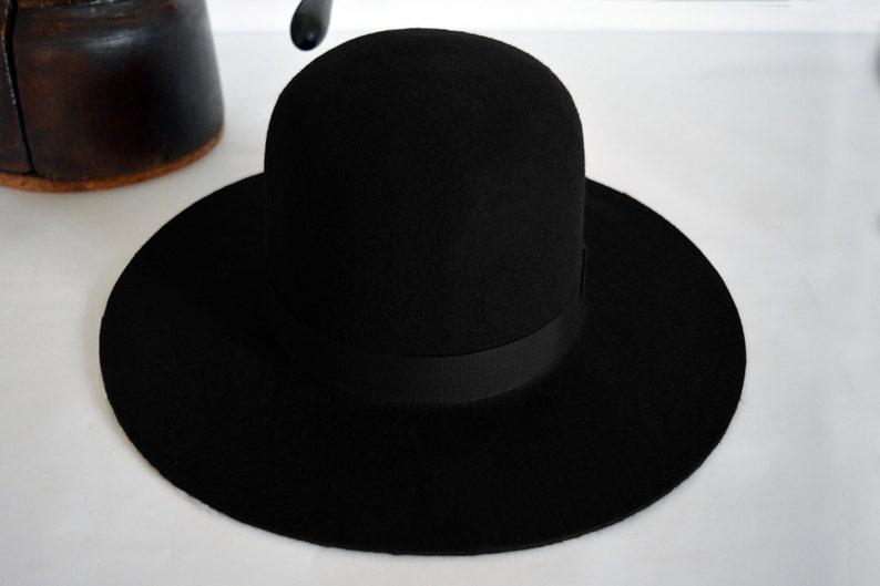 b289ba1ea6392 Round Crown Fedora The INDIAN Black Wide Brim Hat Men