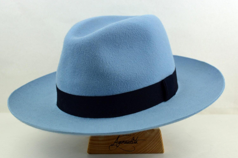 5329dc19ab3 Wide Brim Fedora The SYRACUSE Light Blue Wide Brim Hat Men