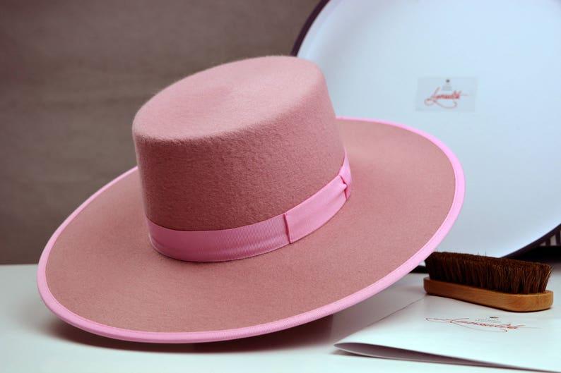 e6ec9195e2aa0 Bolero Hat The BONBON Pink Wool Felt Flat Crown Wide Brim