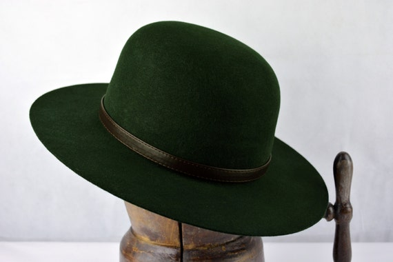 Round Crown Fedora | The FORESTER | Forest Green Wide Brim Hat Men Women | Wool Felt Western Hat