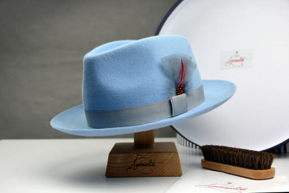 942f3c6d942 Fedora The CLUBBER Light Blue Fedora Hat For Men Mens