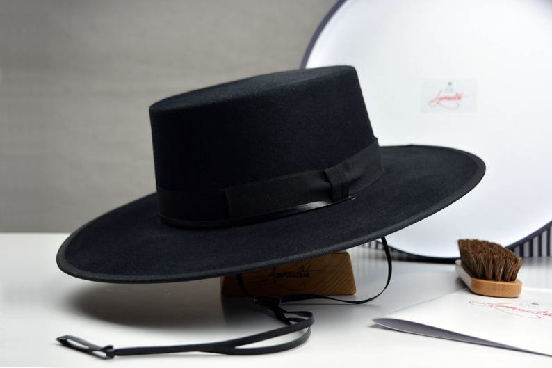 33f265838 Bolero Hat | The GAUCHO | Black Fur Felt Flat Crown Wide Brim Hat Men Women  | Western hats