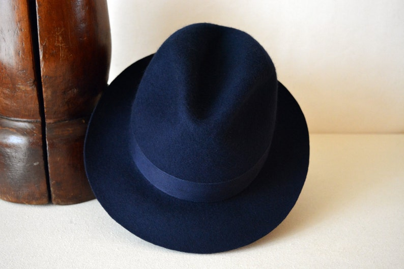 Fedora The NASSOS Navy Blue Wool Felt Fedora Hat For Men  8d126ec24177