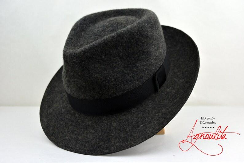c97dd0b5d4b37f Fedora The DACAPO Grey Flecked Wool Felt Fedora Hat For | Etsy