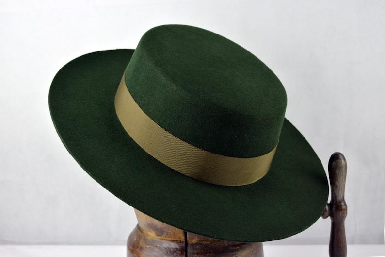 782871fc02f Bolero Hat The WOODSMAN Forest Green Wool Felt Flat Crown