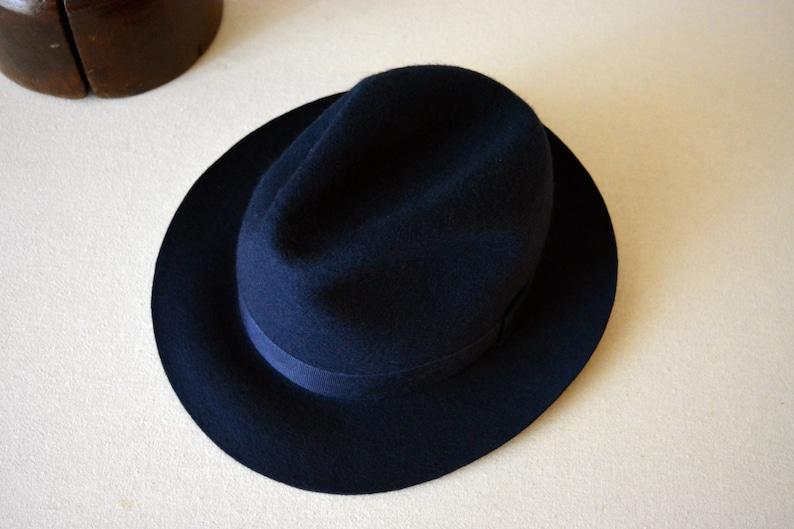 Fedora The NASSOS Navy Blue Wool Felt Fedora Hat For Men  d1e4989ac123