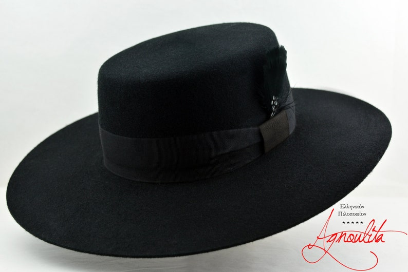 0c4f6491ec7 Bolero Hat The DRESS Black Wool Felt Flat Crown Wide Brim