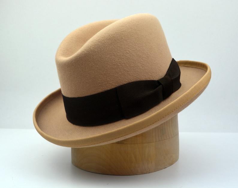1930s Style Mens Hats and Caps Homburg Hat | The AMBASSADOR | Light Camel Fedora Hat For Men | Mens Fedora Hats | Mens Fur Felt Hat $216.34 AT vintagedancer.com