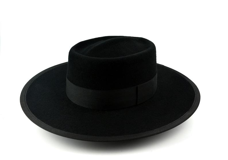 c2a0c078ddf99 Bolero Hat The MONTAUK Black Wool Felt Flat Crown Wide