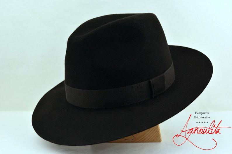 6b17e6565f346 Fedora The CASTOR Black Beaver Fedora Hat For Men Mens