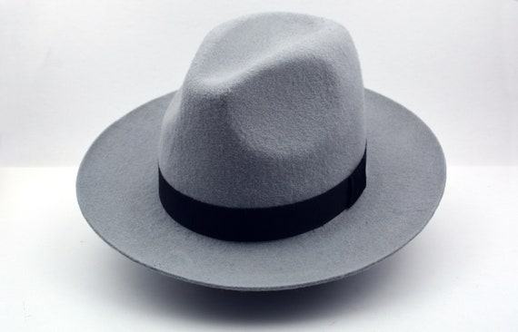 27f989bf17ef4 Fedora The MONTGOMERY Light Grey Wide Brim Hat Men