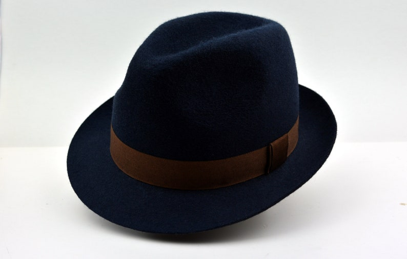 d207bc03011a0 Fedora The VITTORIO Navy Blue Trilby Hat Men Fedora Hat