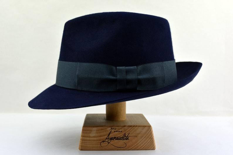 d95df6784f895 Fedora The JOURNAL Navy Blue Trilby Hat Men Fedora Hat