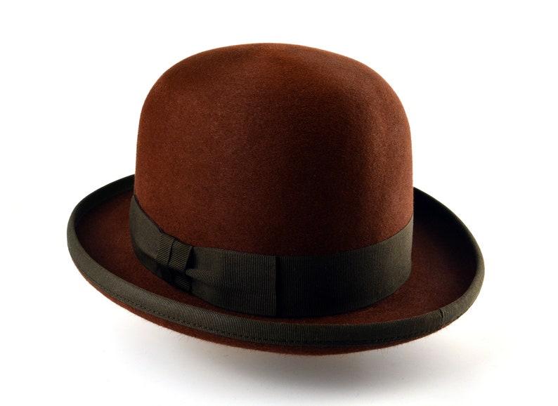 Steampunk Hats for Men | Top Hat, Bowler, Masks Bowler Hat | The DERBY | Brown Fur Felt Derby Hat For Men | Mens Formal Hats $200.54 AT vintagedancer.com